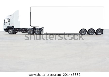 commercial delivery cargo truck isolated on white  - stock photo