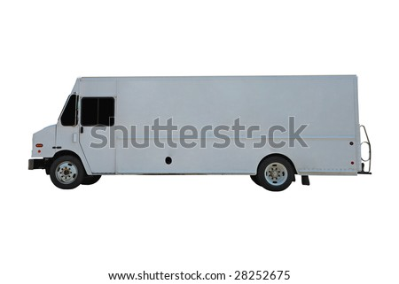 commercial delivery truck with copy space for your own logo - stock photo