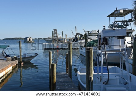 Commercial Fishing Boats tied up at the Marina in the Evening Time