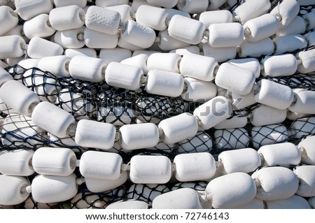 Commercial Fishing Nets and Floats - stock photo