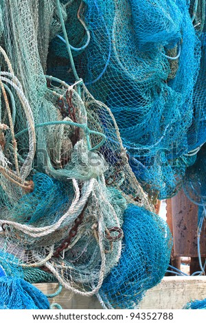 Commercial Fishing Nets Hanging Out to Dry - stock photo