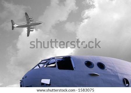 Commercial fly and cabin of an airplane destroyed. - stock photo