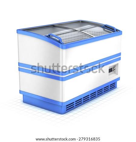Commercial fridge isolated on white - stock photo