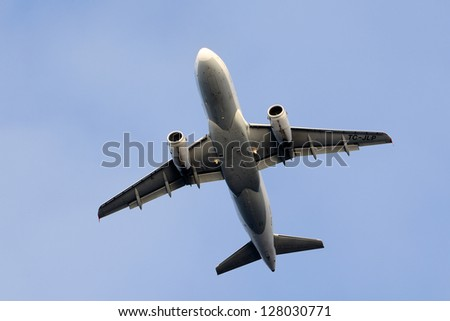 commercial jet airplane - stock photo
