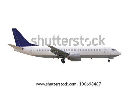 commercial jet plane isolated on white