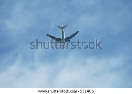 Commercial jetliner flying overhead