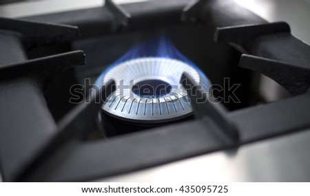 Commercial Kitchen Gas Burner Flame - stock photo