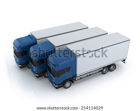 Commercial Large truck with copy space on a white background - stock photo
