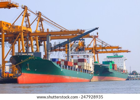 commercial ship with container on shipping port for import export and logistic transportation