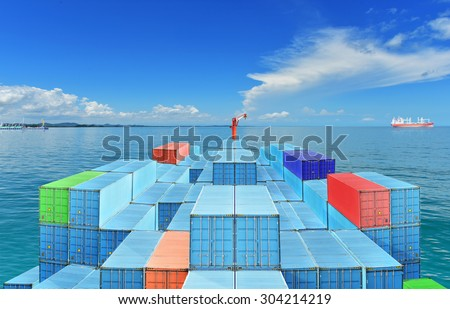 Commercial Vessels Marine Bulk Containers were traveling in sea freight under blue sky and cloud. - stock photo