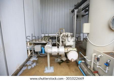 Commercial water chiller , screw compressor  chiller , scroll compressor , screw compressor - stock photo