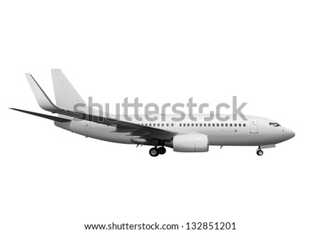 commercial white plane on white background with path - stock photo