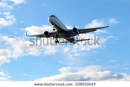 Commerical passenger jet coming on landing approach