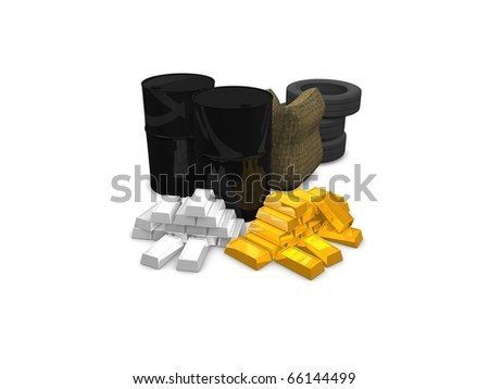 Commodities concept:Oil, wheat, rubber, gold, silver. isolated on white background. - stock photo