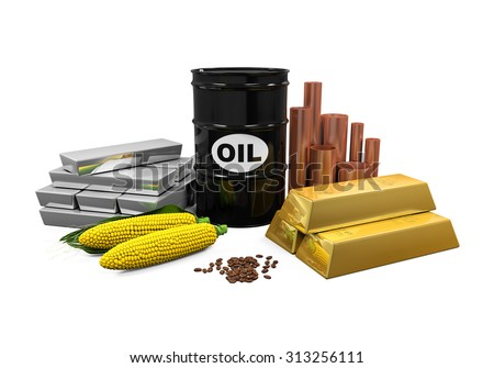 Commodities - Oil, Gold, Silver, Copper, Corn and Coffee Beans - stock photo