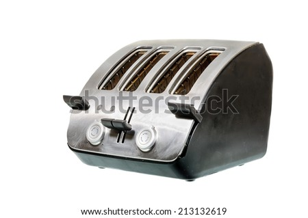Common chrome toaster isolated on white background