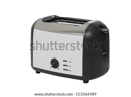 Common chrome toaster isolated with clipping path.   - stock photo
