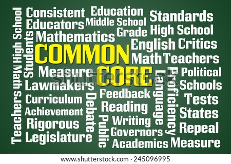 Common Core word cloud on green blackboard background - stock photo