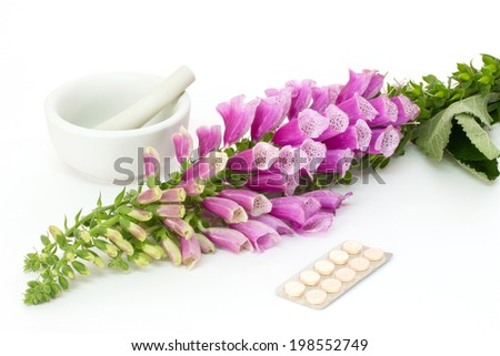 Common foxglove with mortar, pestle and pills over white background - stock photo