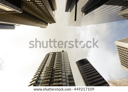 Common modern business skyscrapers, high-rise buildings, architecture - stock photo