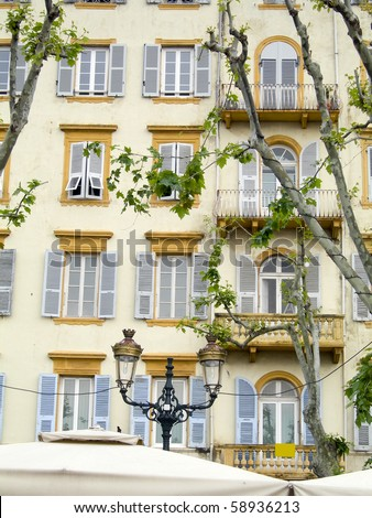 common typical architecture hotel front bastia corsica corse du sud france - stock photo