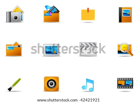 Commonly used Arts & Multimedia icons. Pixio set #15 - stock photo
