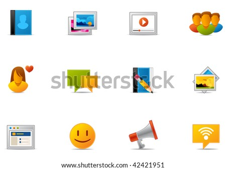Commonly used Social Media & Social Networking icons. Pixio set #7 - stock photo