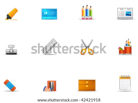 Commonly used stationery icons. Pixio set #17 - stock photo