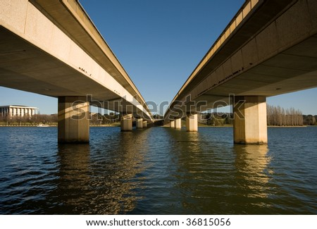Commonwealth Bridge over Lake Burley Griffin, in Australia's capital city, Canberra.