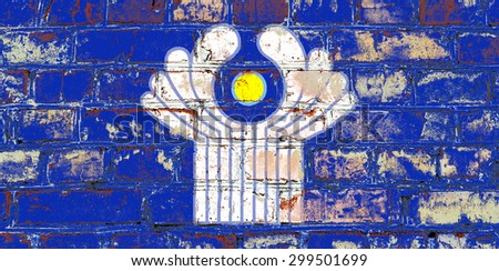 Commonwealth of Independent States flag painted on old brick wall texture background - stock photo