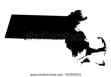 Commonwealth of Massachusetts - white background - stock photo