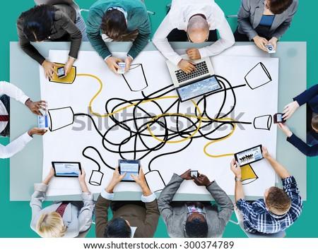 Communicate Communication Telecommunication Connection Calling Concept - stock photo