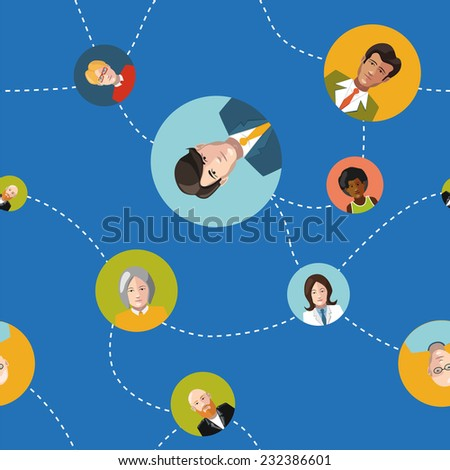 communicating people flat design seamles pattern - stock photo