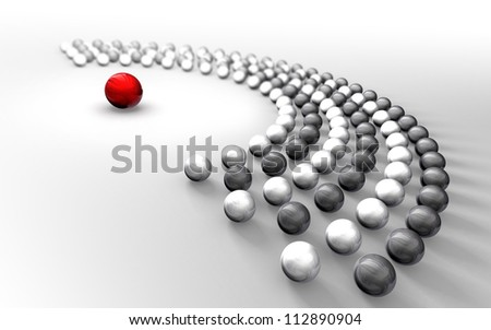 Communication abstract black and white chrome balls around one red sphere