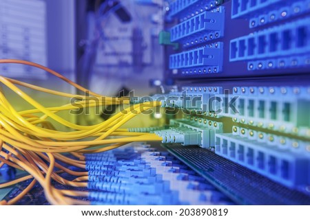 Communication and internet network server room - stock photo