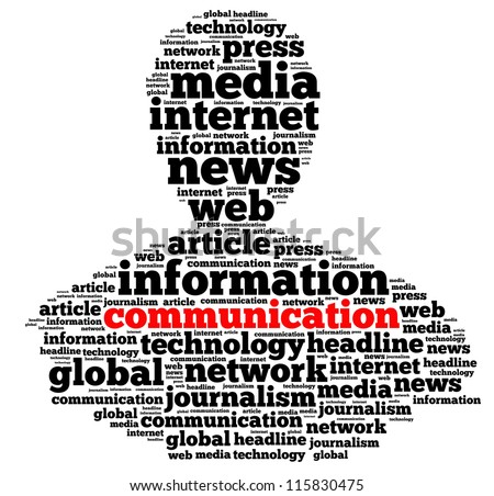 Communication and news info-text graphics and arrangement concept on white background (word cloud) - stock photo