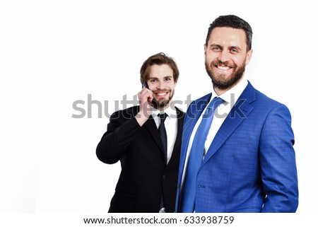 communication and technology, happy men or businessmen speaking smiling on mobile or cell phone in formal outfit isolated on white background