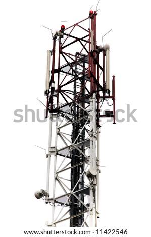 Communication antenna on white background - stock photo