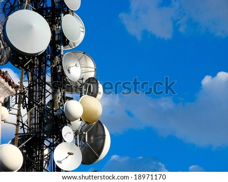 Communication antenna tower - stock photo