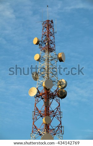 Communication antenna tower on blue sky and cloud,Telecoms technology