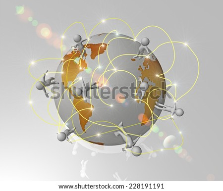 communication around the world - white little human characters - lights like data - directions around earth - stock photo