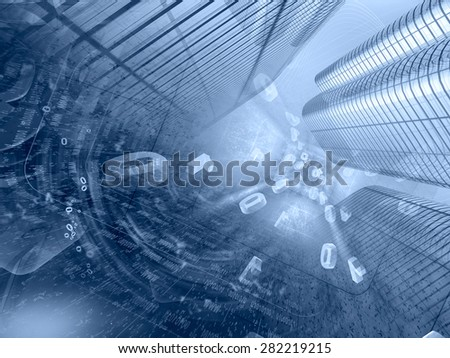 Communication background in blues with buildings, digits and mail signs. - stock photo