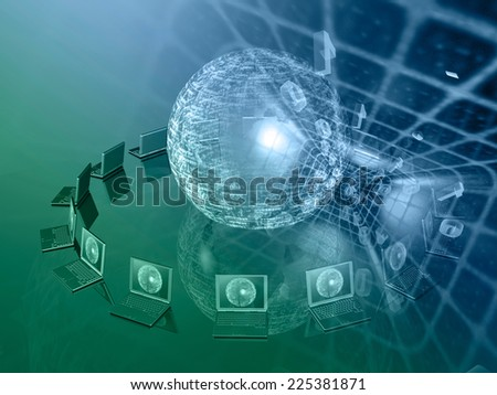 Communication background - laptops and digits in the tunne, in greens and blues. - stock photo