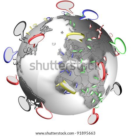 Communication between people using speech bubbles - stock photo