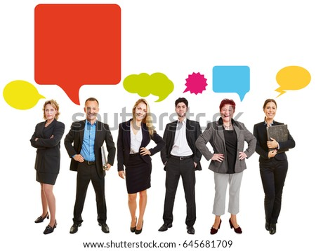 Communication business team concept with many colorful speech bubbles