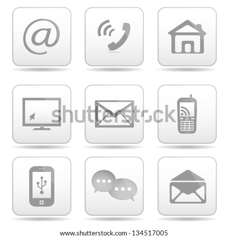 Communication buttons set, e-mail icons. - stock photo