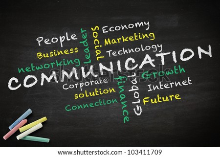 Communication concept and other related words, drawn on blackboard - stock photo