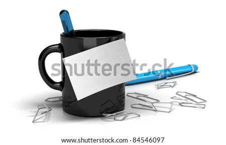 communication concept. Blank memo note onto a black mug with paperclips and a blue pen image is over a white background - stock photo