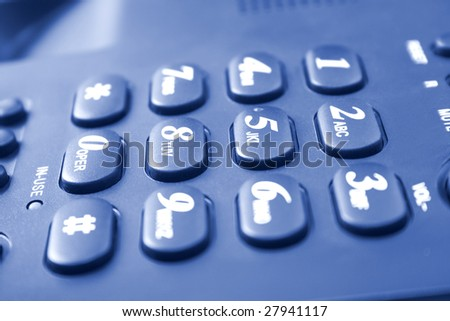communication concept. blue telephone keypad with buttons - stock photo