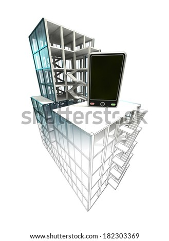 communication concept of architectural building plan finishing illustration - stock photo